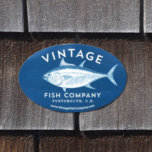 Vintage Fish Company Decal, Navy Blue