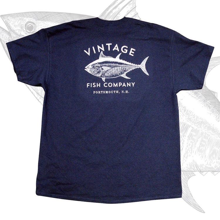 Logo t shirt vintage fish company navy blue gray 100 for Vintage t shirt company